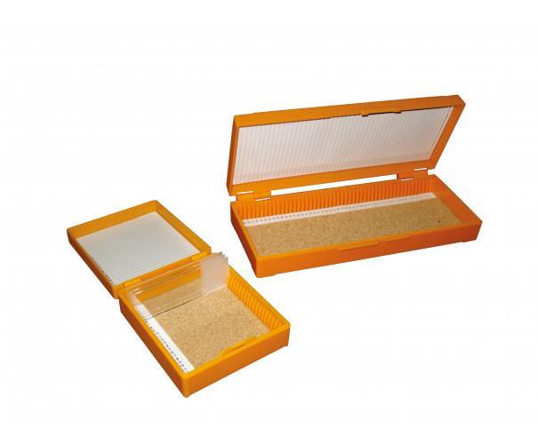 Caja para 50 portaobjetos con tapa